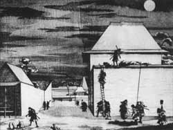 Holzschnitt mit der Darstellung des Angriffs auf die Residenz von Kira Yoshinaka