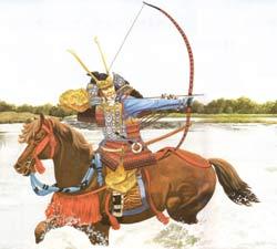 Krieger aus Yoshitsunes Armee bei der Überquerung des Flusses Uji