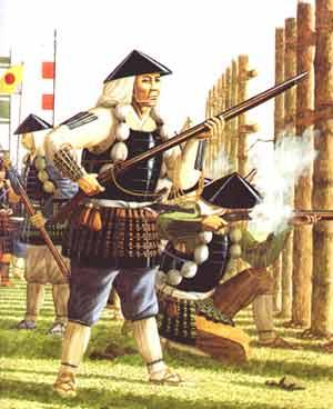 Nobunagas Arkebusenschützen im Einsatz während der Schlacht von Nagashino, 1575.