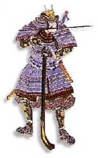Samurai beim Laden einer Arkebuse. Zwischen den Zähnen hält er seinen Ladestock. Das Katana hat er auf den Rücken gehängt, um eine größere Bewegungsfreiheit zu erreichen.