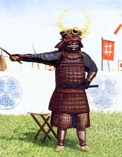 Tokugawa Ieyasu in der Schlacht von Nagakute (1584), nach deren unentschiedenen Ausgang er sich mit seinem damaligen Kontrahenten Toyotomi Hideyoshi verbündete.