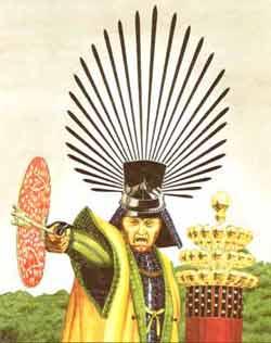 """Hideyoshi bei der Belagerung der Burg Odawara, 1590. Hinter ihm steht sein Feldzeichen, das aus stilisierten Flaschenkürbissen bestand. Für jeden Sieg fügte er einen weiteren Kürbis hinzu, so das es auch als """"Tausen-Kürbis-Standarte"""" bekannt war."""