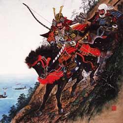 """Yoshitsunes Abstieg über die Klippen von Ichi-no-tani im Krieg gegen die Taira (siehe auch """"Heike vs. Genji"""")"""