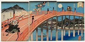 Wandschirm mit der Darstellung von Yoshitsunes Kampf mit Benkai auf der Gojo-Brücke